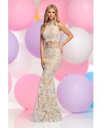 Zoey Grey - Pink Two Piece Halter Lace Long Gown - Lyst