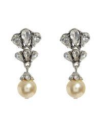 Ben-Amun   Metallic Crystal Cluster Pearl Drop Earrings   Lyst