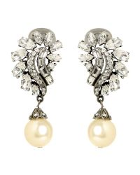 Ben-Amun | Metallic Pearl And Crystal Cluster Drop Earring | Lyst