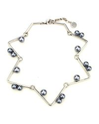 Ben-Amun - Metallic Sculptural Geometric Necklace With Pearls - Lyst