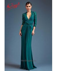 Mac Duggal   Blue Couture - Long Sleeve Gown In Teal   Lyst
