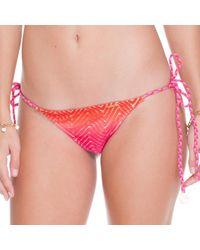 Luli Fama - Pink Wavey Brazilian Ruched Back Tie Side In Multicolor (lz) - Lyst