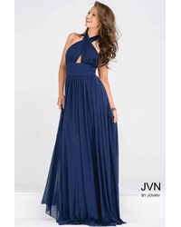 Jovani | Blue Halter Neck Ruched Bodice Empire Waist Dress Jvn | Lyst
