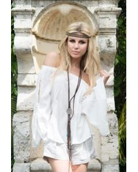 Union Of Angels - White Nikki Top With Split Bell Sleeves - Lyst