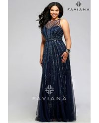 Faviana - Red Stretch Tulle Plus Size Evening Dress With Liquid Style Beading - Lyst