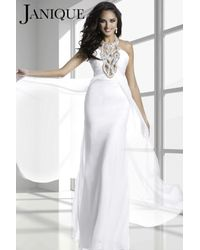 Janique - Multicolor Long Empire Gown With Bejeweled Haltered Neckline And Ruched Bodice K - Lyst