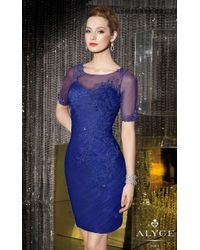 Alyce Paris | Blue Sheer Bateau Illusion Short Cocktail Dress With Lace Appliques And Finely-ruched Silhouette | Lyst