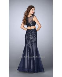 La Femme - Blue Two-piece Intricately Embroidered Illusion Long Evening Gown - Lyst
