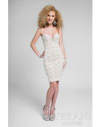 Terani | Multicolor Shimmering Strapless Sweetheart Short Sheath Dress P | Lyst