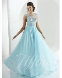 Tiffany Designs | Blue Exquisitely Accented Bateau Illusion Evening Gown | Lyst