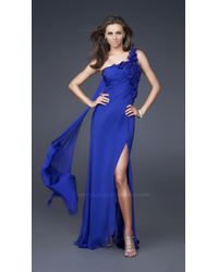 La Femme | Blue Floral Accented Asymmetrical Sheath Evening Gown | Lyst