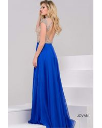 Jovani - Blue Crystal Embellished High Neck Chiffon A-line Gown - Lyst