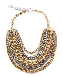 Elizabeth Cole | Black Gold & Silver Chain Necklace | Lyst
