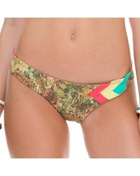 Luli Fama - Green Tri Color Wavey Back Ruched Bottom In Multicolor (lc) - Lyst