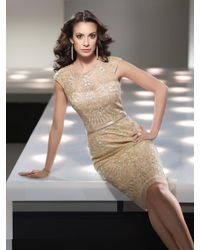 Mon Cheri - Metallic Social Occasions By - 214839 Short Dress In Light Gold - Lyst