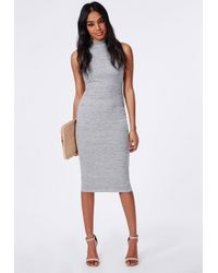 Missguided - Gray Jersey High Neck Midi Dress Grey Marl - Lyst