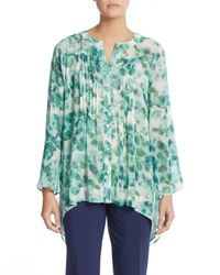 Chaus New York | Multicolor Printed Pintuck-pleated Chiffon Blouse | Lyst