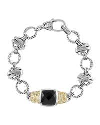 Lagos - Metallic Black Spinel & Diamond Link Bracelet - Lyst