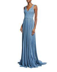J. Mendel - Blue Pleated V-neck Silk Chiffon Gown - Lyst