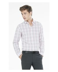 Express - Pink Fitted Tonal Plaid Dress Shirt for Men - Lyst