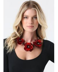 Bebe - Red Resin Flower Necklace - Lyst