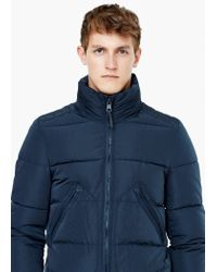 Mango - Blue Hood Quilted Coat for Men - Lyst