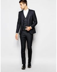SELECTED | Black Pin Dot Suit Trousers In Skinny Fit for Men | Lyst