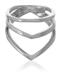 Arme De L'Amour Metallic Chevron Silver Phalanx Ring