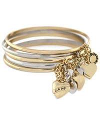 BCBGeneration | Metallic Two-tone Heart Chained Bangle Set | Lyst