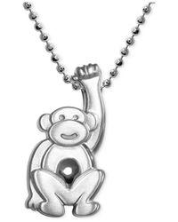 Alex Woo | Metallic Little Monkey Zodiac Pendant Necklace In Sterling Silver | Lyst