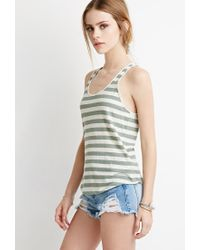 Forever 21 - Green Striped Racerback Tank - Lyst