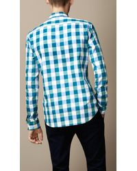 Burberry - Blue Cotton Gingham Shirt for Men - Lyst