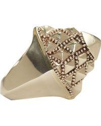 KTZ   Metallic Silver Pyramid Facet Ring   Lyst
