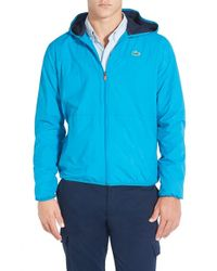 Lacoste - Blue 'sport' Lightweight Ripstop Hooded Jacket for Men - Lyst