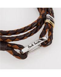 Paul Smith   Men's Light And Dark Brown Leather Wrap Bracelet for Men   Lyst