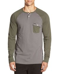 Volcom | Green 'Hardin' Long Sleeve Pocket Henley for Men | Lyst