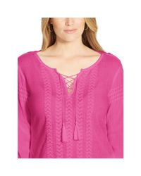 Ralph Lauren - Pink Embroidered Cotton Lace-up Top - Lyst