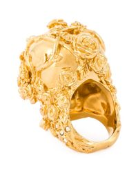 Alexander McQueen | Metallic Floral Skull Cocktail Ring | Lyst