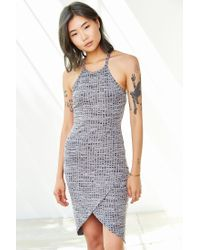 Silence + Noise - Gray High-neck Space-dye Tulip Dress - Lyst