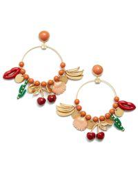 Tory Burch - Multicolor Sylvan Charm Hoop Earring - Lyst