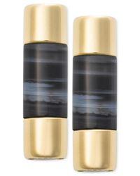 Michael Kors | Black Gold-tone Opaque Stone Bar Stud Earrings | Lyst