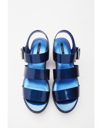 Forever 21 | Blue Faux Leather Flatform Sandals | Lyst