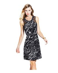 Vince Camuto - Black Sheer Inset Marble Stone Dress - Lyst