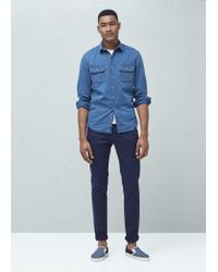 Mango | Blue Slim-fit Cotton Chambray Shirt for Men | Lyst