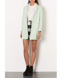 TOPSHOP - Green Textured Swing Coat - Lyst