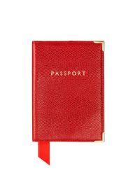 Aspinal - Red Lizard Print Plain Passport Cover - Lyst