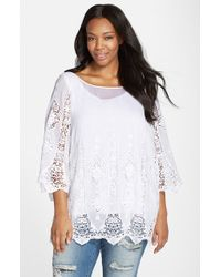 XCVI - White 'kensington' Embroidered Lace Cotton & Silk Tunic - Lyst