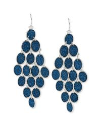 Steve Madden - Silvertone Blue Glitter Oval Chandelier Earrings - Lyst