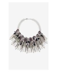 Express | Metallic Rhinestone Cluster Fringe Bib Necklace | Lyst