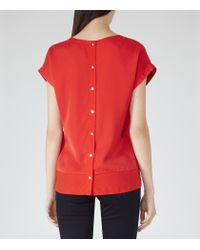 Reiss - Red Elissa Button-back Top - Lyst